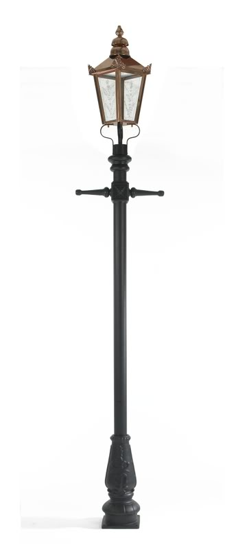 Reproduction Victorian style cast iron lamp post and copper lantern available for a next day delivery