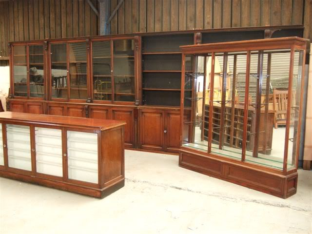 Original antique reclaimed Victorian shop and pharmacy display units, cupboards, shelves and cabinets are available to view and buy from our shop
