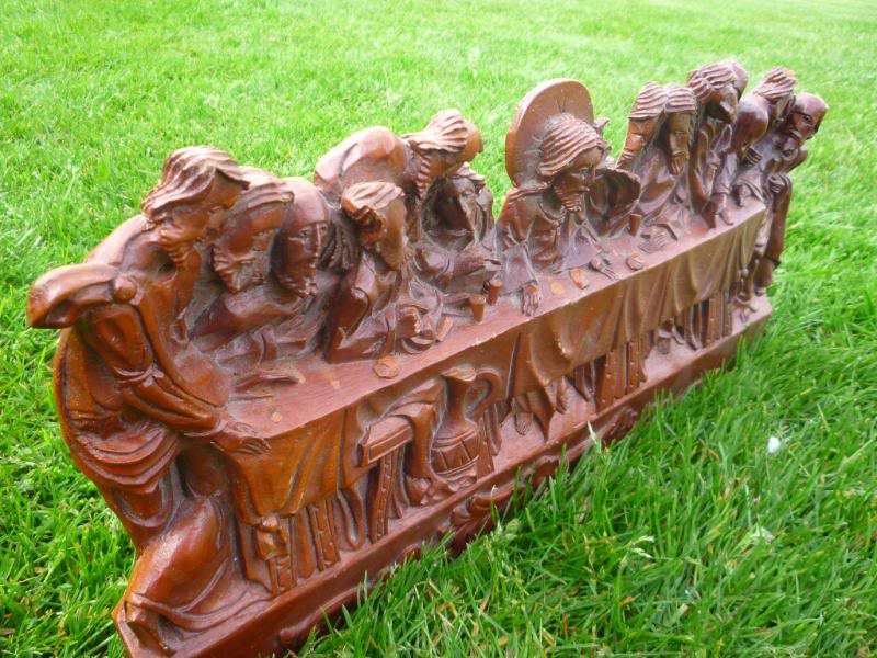 last supper,ukaa,last supper wall plaque,church antiques,hand carved plaque,architectural antiques,garden antique,carved plaque