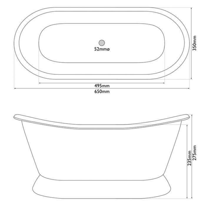 Dimensions Of Hurlingham Bateau Basin Brass Finish