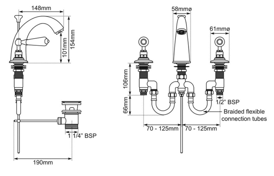 Dimensions Of Hurlingham Classical Spout Basin Mixer Taps With Pop-up Waste
