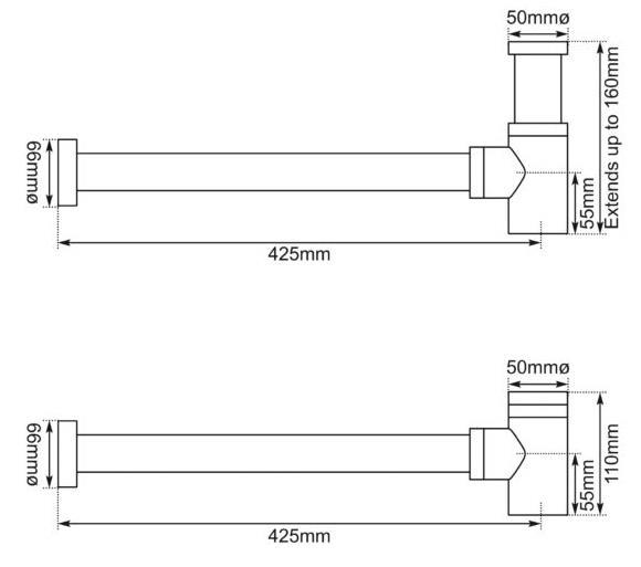 Dimensions Of Hurlingham Basin Bottle Trap