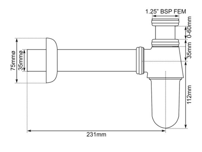Dimensions Of Hurlingham Bottle Trap For Basin