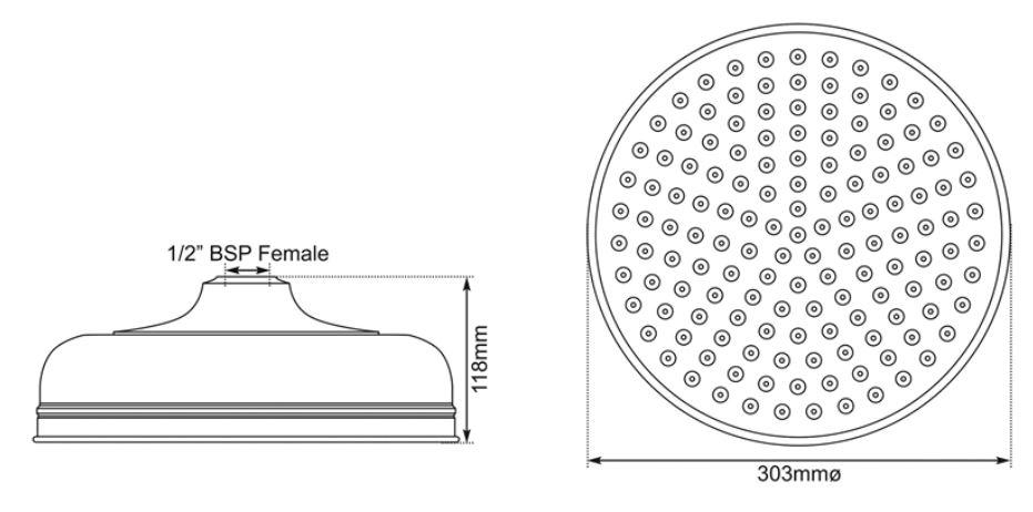 Dimensions Of Hurlingham Chrome Shower Rose 12