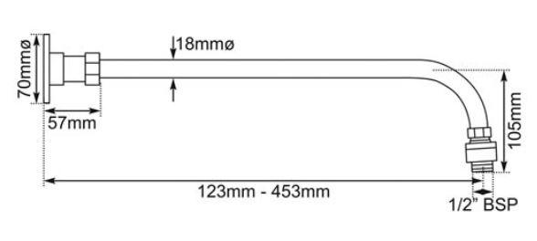 Dimensions Of Hurlingham Adjustable Shower Arm