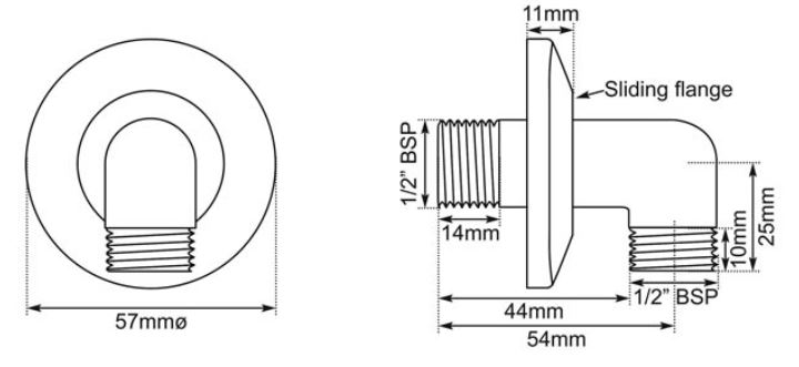 Dimensions Of Hurlingham Shower Wall Elbow