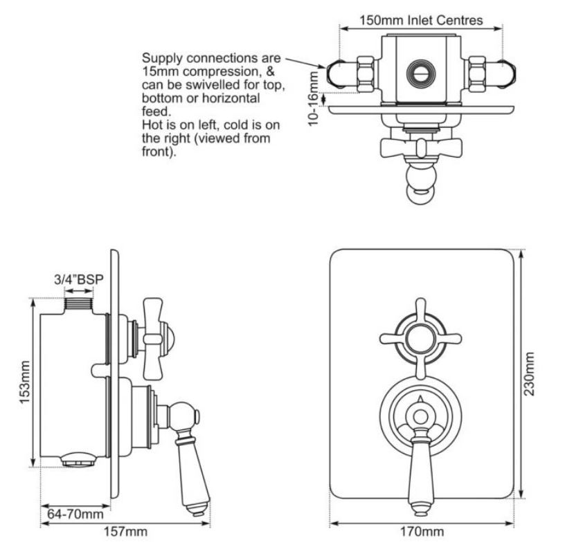 Dimensions Of Hurlingham Concealed Dual Control Thermostatic Valve