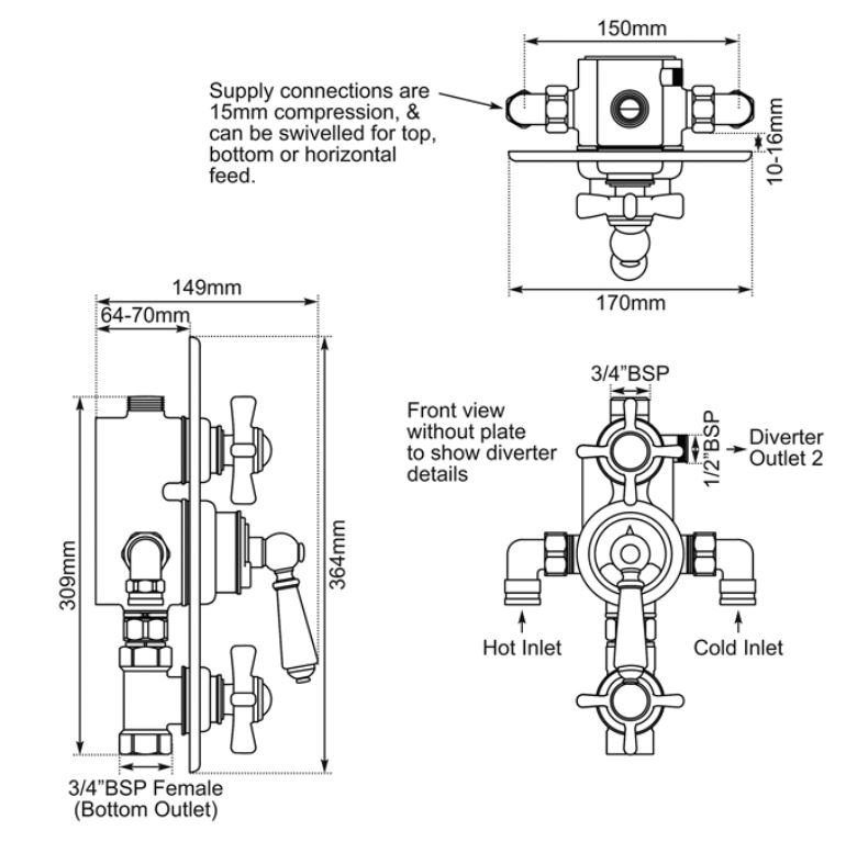 Dimensions Of Hurlingham Concealed Thermostatic Valve With Integral Flow Valves