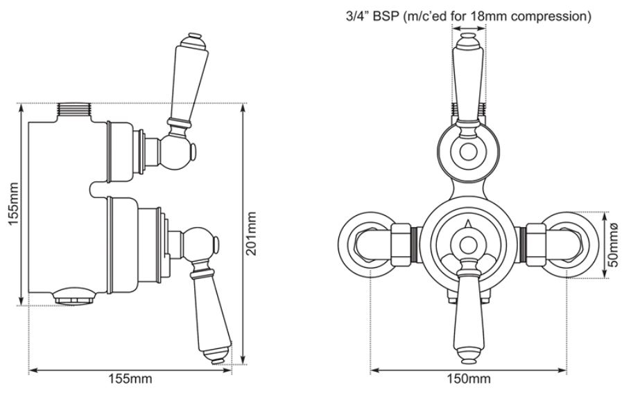 Dimensions Of Hurlingham Exposed Thermostatic Shower Valve