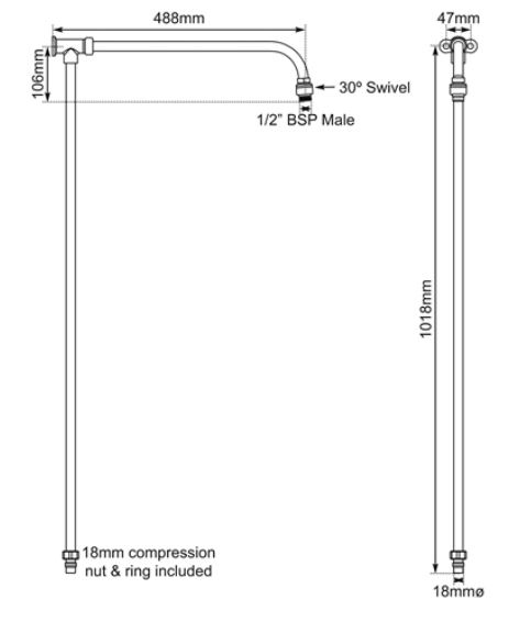 Dimensions Of Hurlingham Shower Arm With Riser Rail