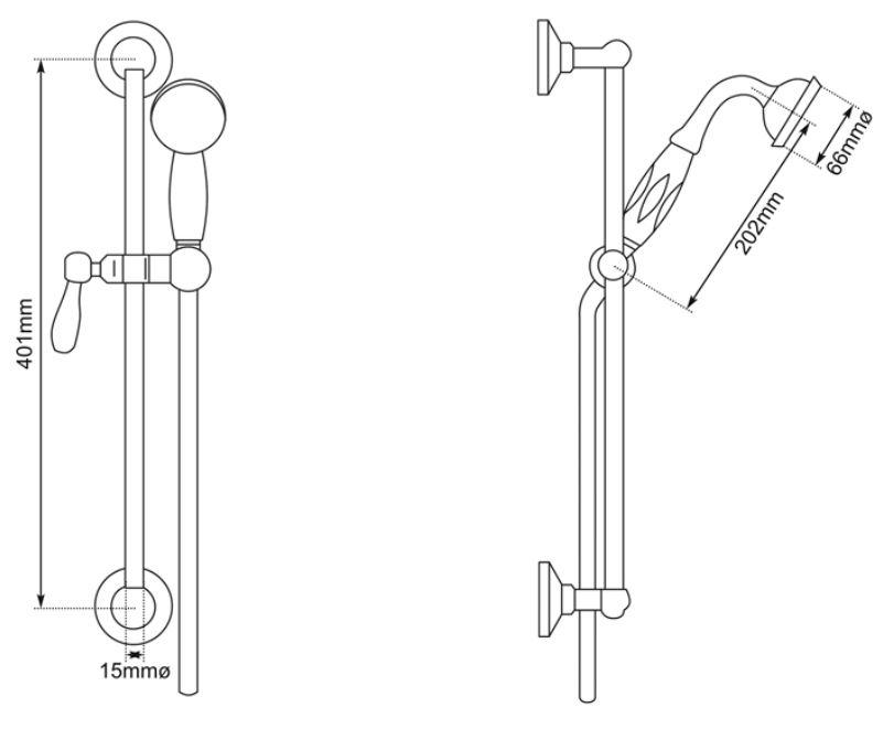 Dimensions Of Hurlingham Hand Shower On Slider Rail