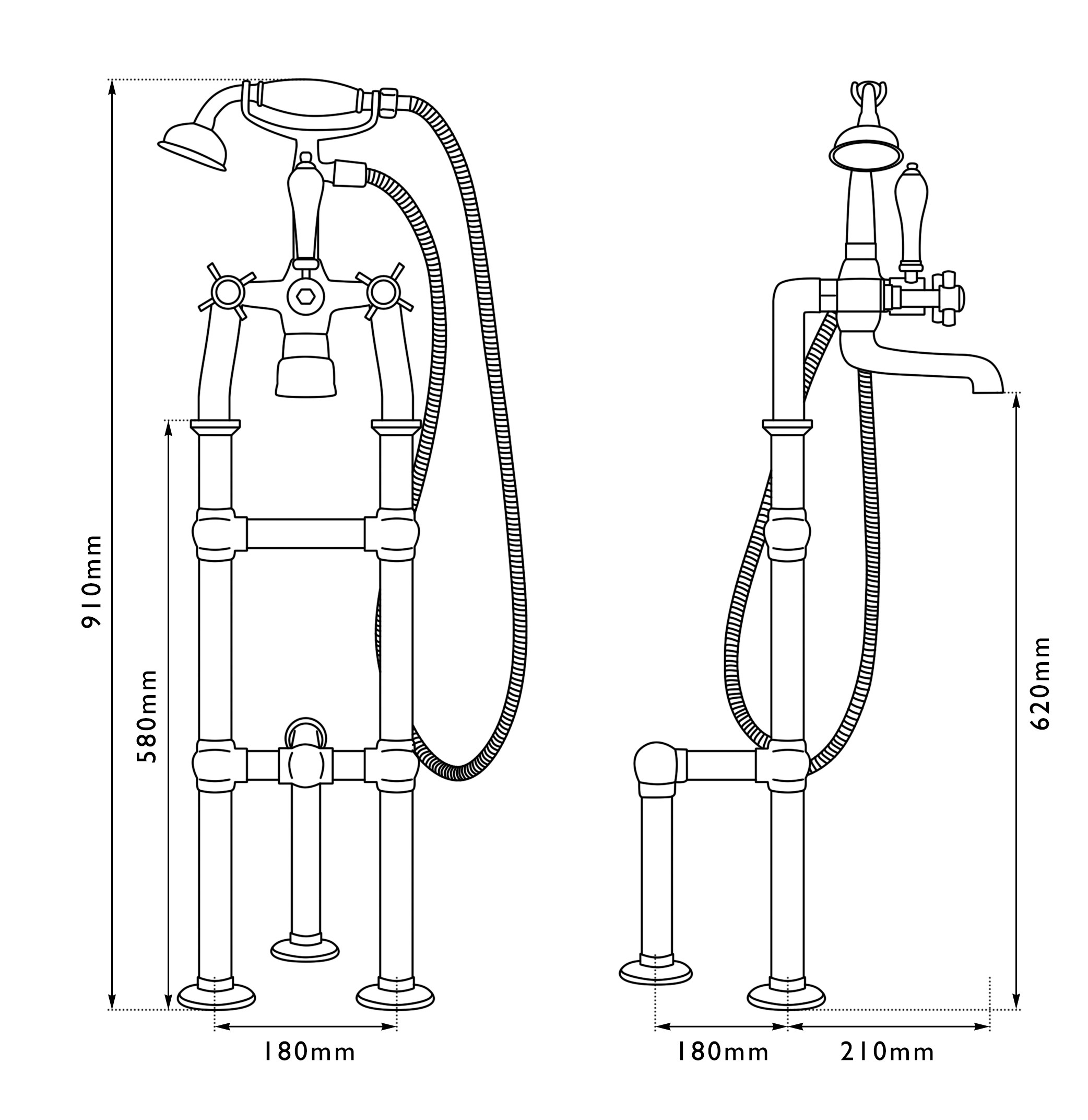 Dimensions Of Hurlingham Freestanding Bath Mixer Taps With Shower Head