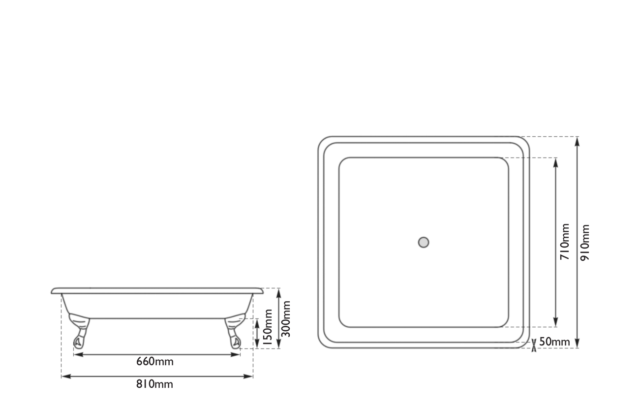 Dimensions Of Hurlingham Chatterton Small Cast Iron Shower Tray