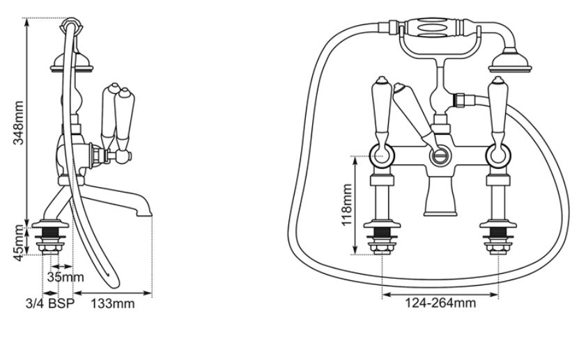 Dimensions Of Hurlingham Bath Mixer Taps With Cranked Legs