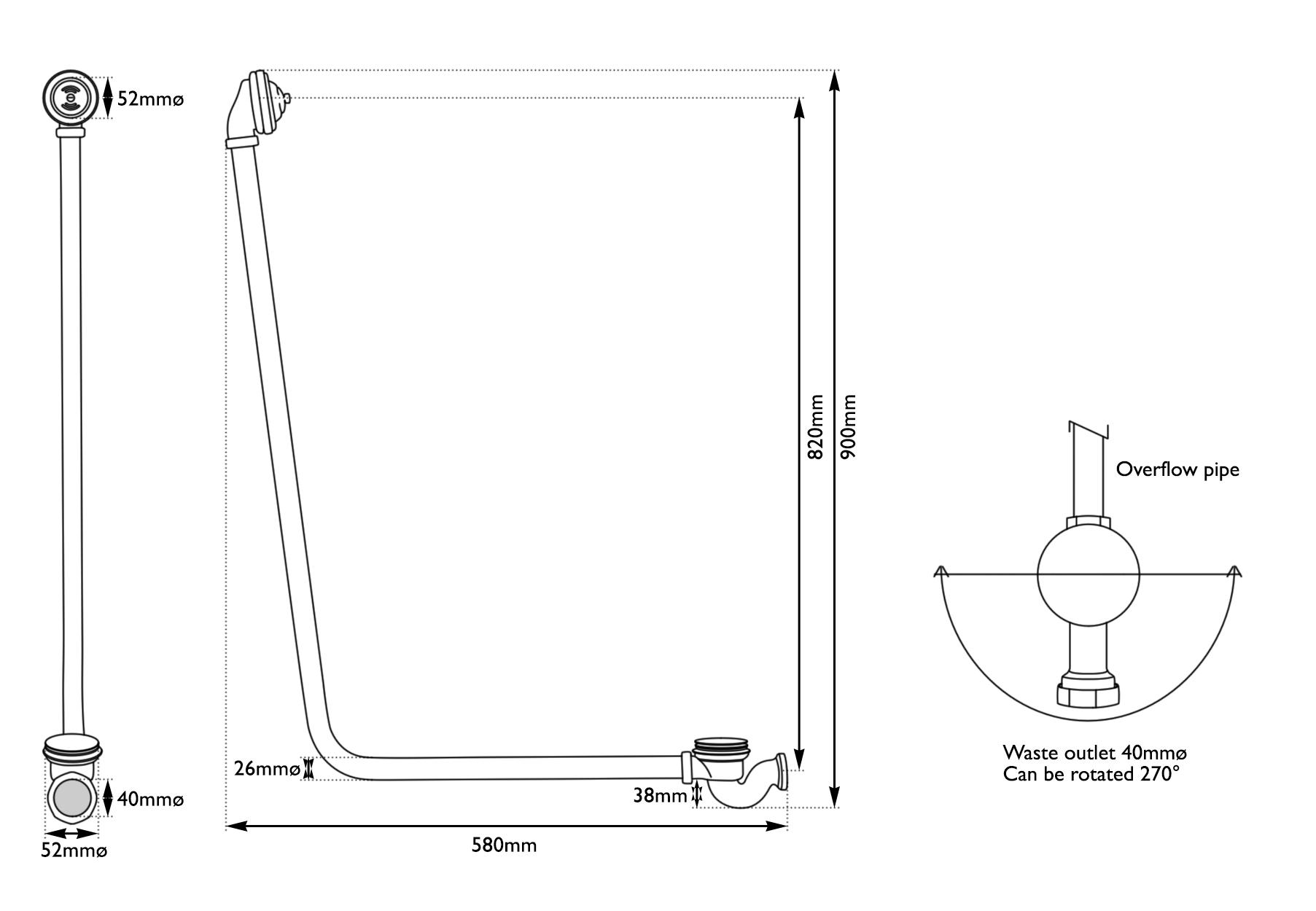 Dimensions Of Hurlingham Click Clack Bath Waste With Overflow