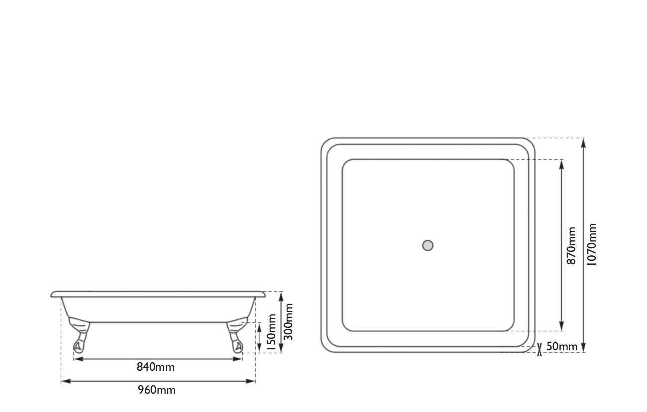 Dimensions Of Hurlingham Chatterton Large Cast Iron Shower Tray