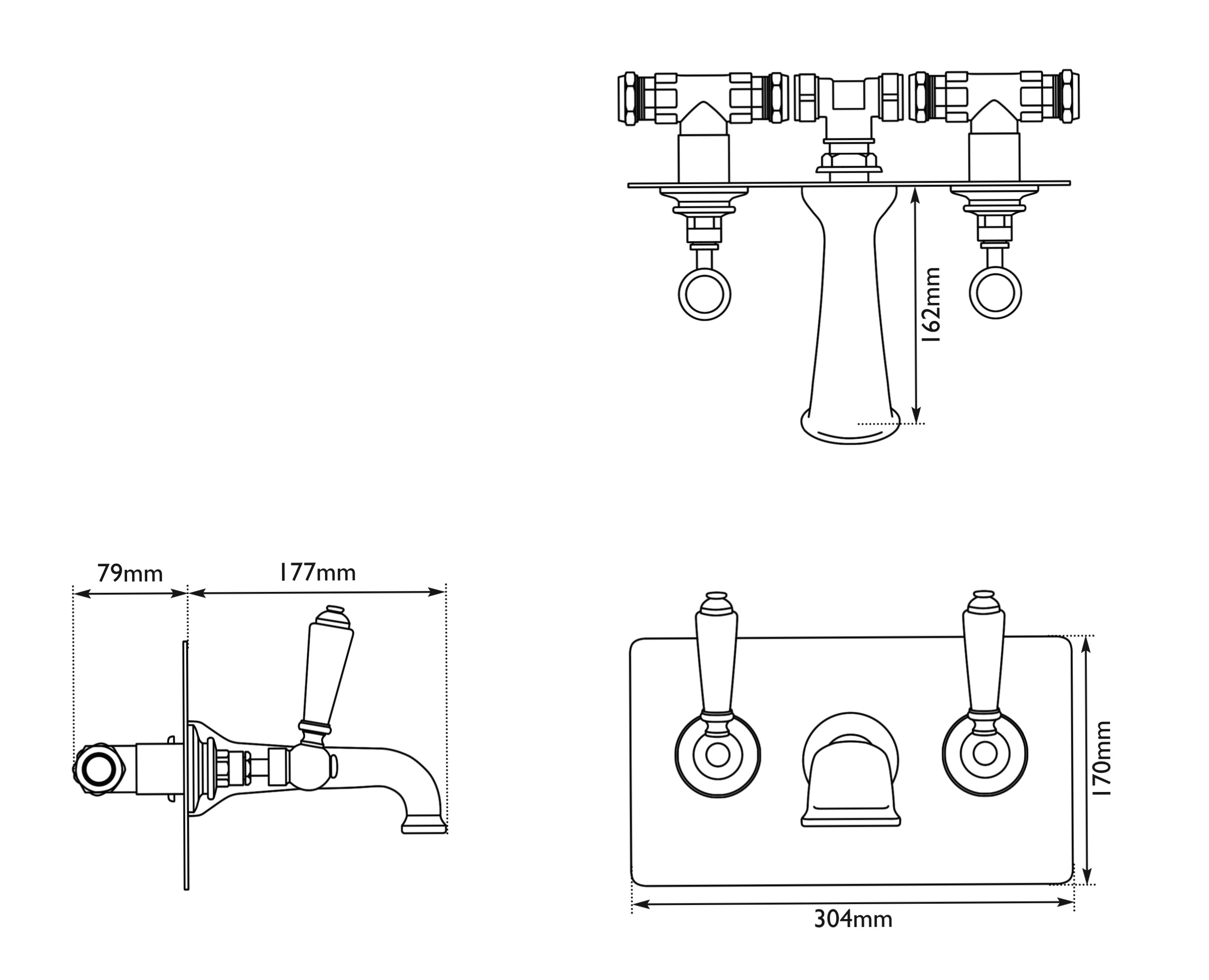 Dimensions Of Hurlingham Wall Mounted Bath Filler With Concealing Plate