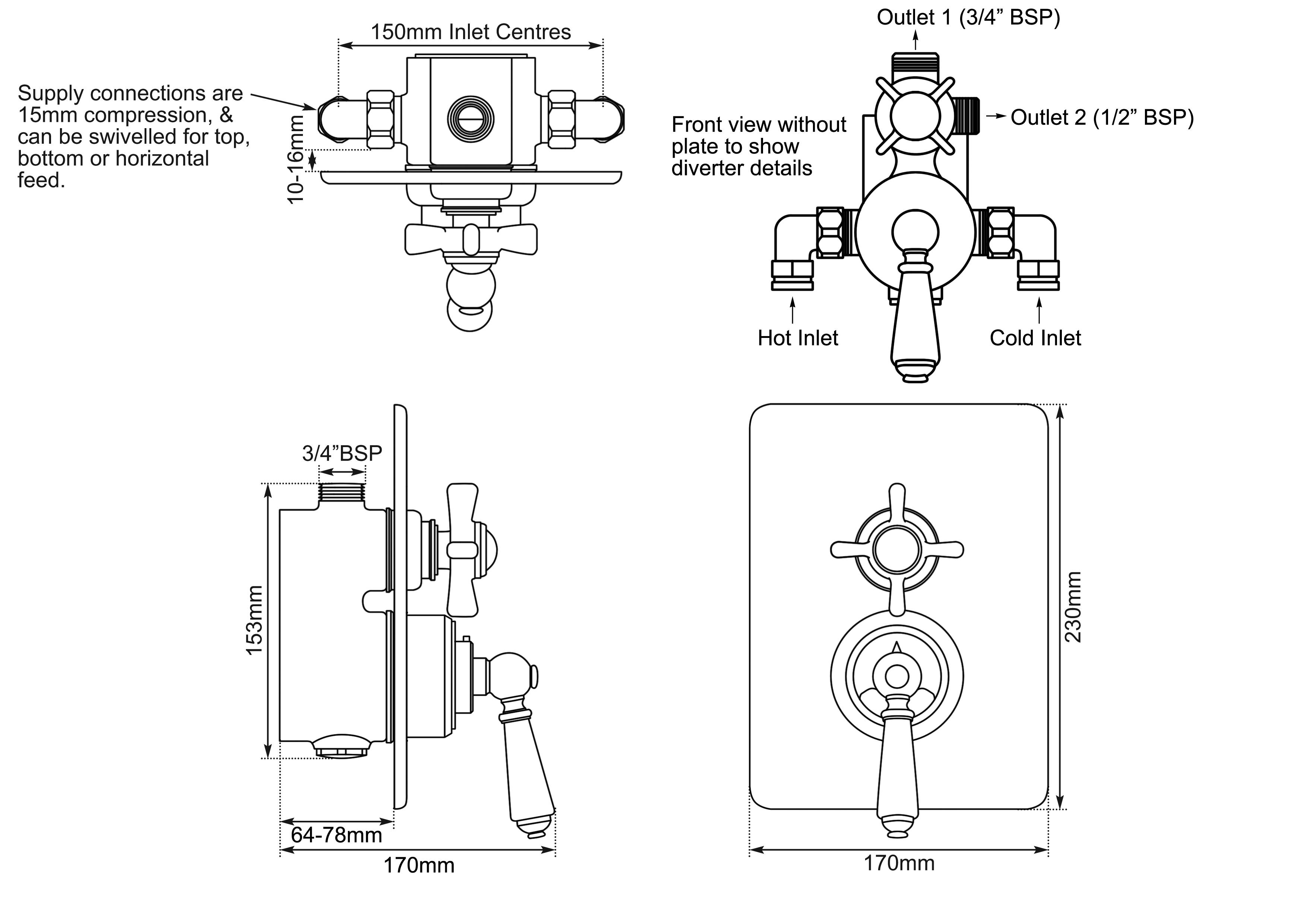 Dimensions Of Hurlingham Concealed Dual Control Thermostatic Valve - 2 Outlets