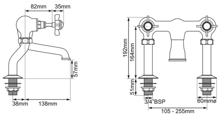 Dimensions Of Hurlingham Bath Filler Taps