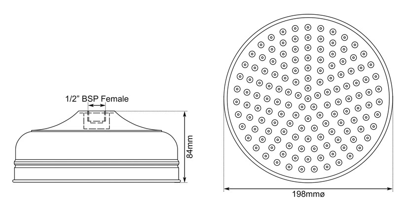 Dimensions Of Hurlingham Shower Rose 8