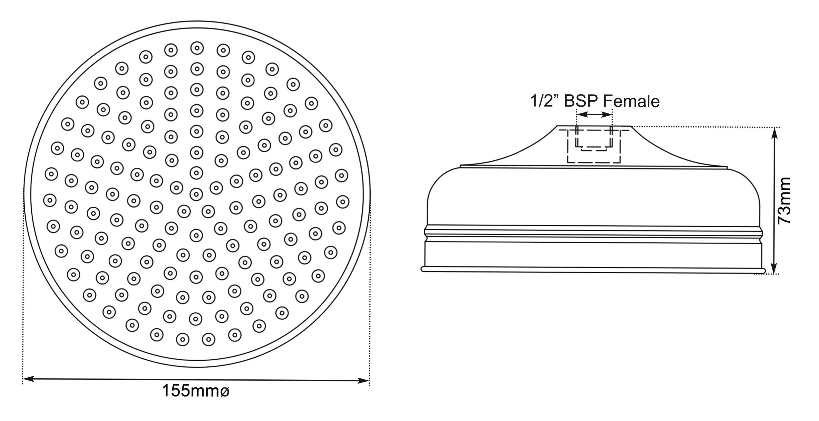 Dimensions Of Hurlingham Shower Rose 6