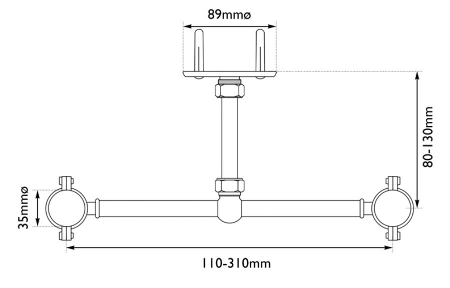 Dimensions Of Hurlingham Stand Pipe Support Bracket
