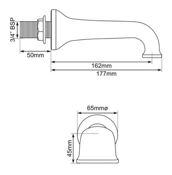 Dimensions Of Hurlingham Wall Mounted Bath Filler Taps