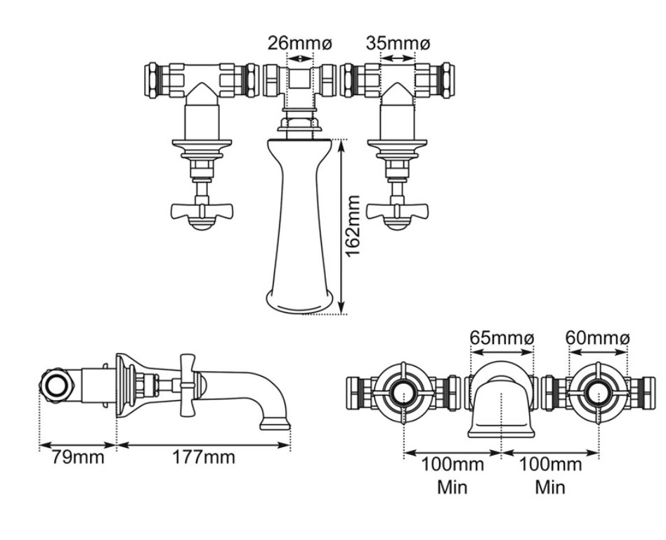 Dimensions Of Hurlingham 3 Hole Wall Mounted Bath Filler Taps