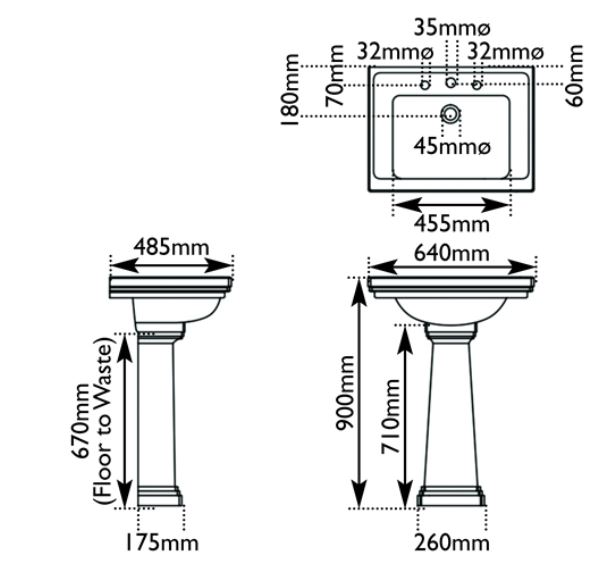 Dimensions Of Hurlingham Highgate Wash Basin Large With 3 Tap Holes & Pedestal