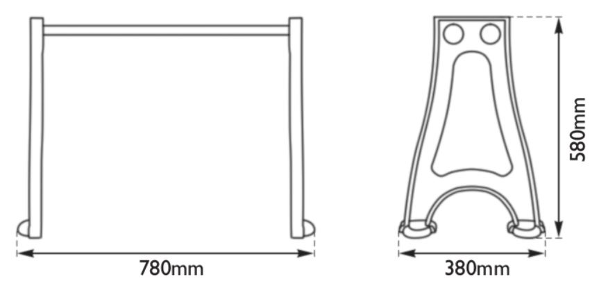 Dimensions Of Hurlingham Pair of Cast Iron Stand
