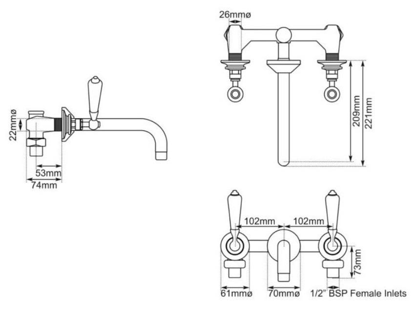 Dimensions Of Hurlingham Wall Mounted Basin Mixer Taps