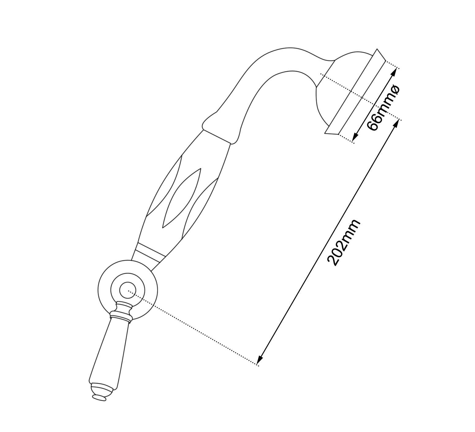 Dimensions Of Hurlingham Diverter & Handset On Slider