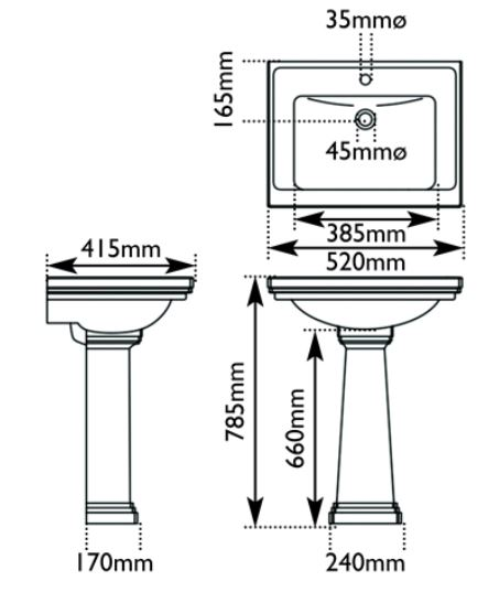Dimensions Of Hurlingham Highgate Wash Basin Small With 1 Tap Hole & Pedestal