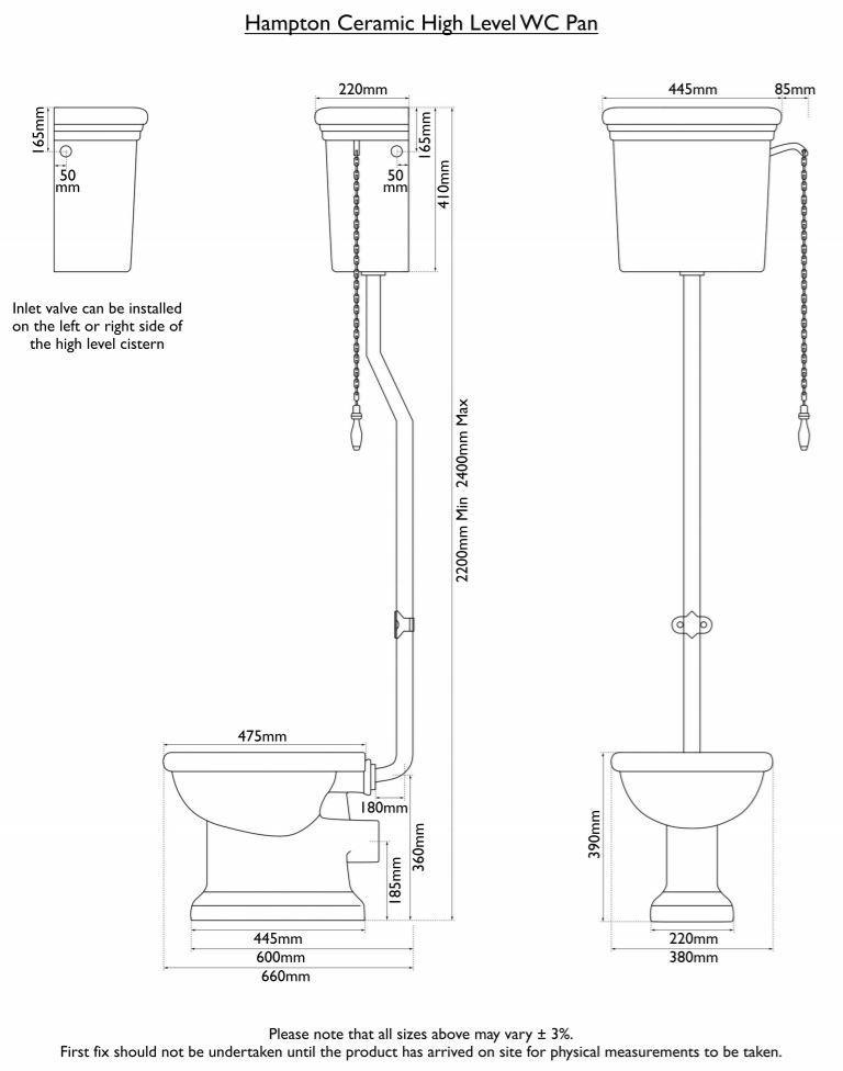 Dimensions Of Hurlingham Hampton High Level Traditional Toilet