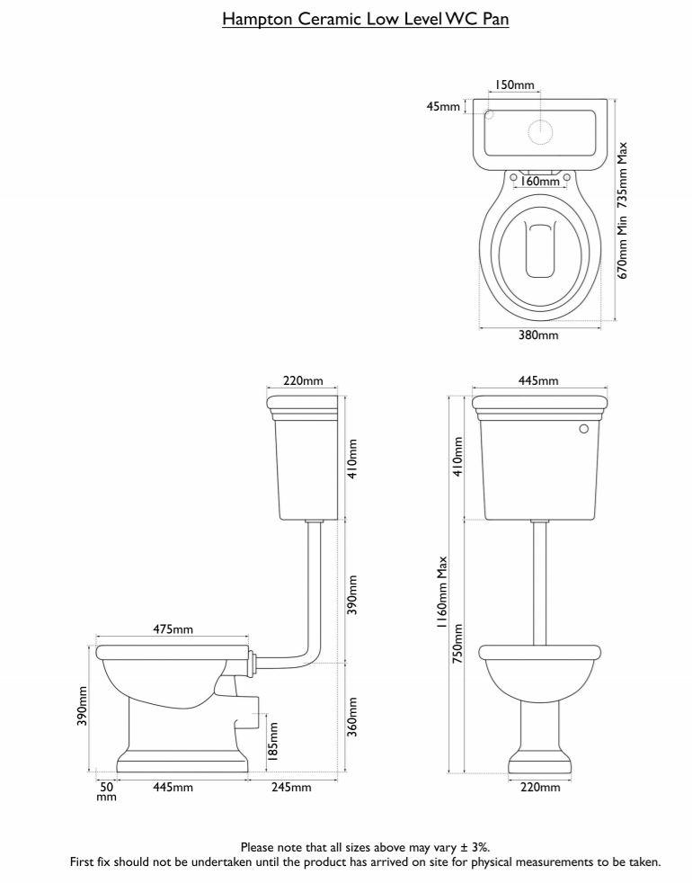 Dimensions Of Hurlingham Hampton Low Level Traditional Toilet