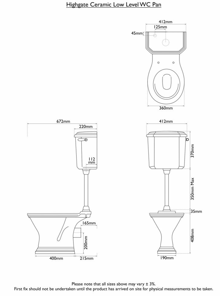 Dimensions Of Hurlingham Highgate Low Level Traditional Toilet