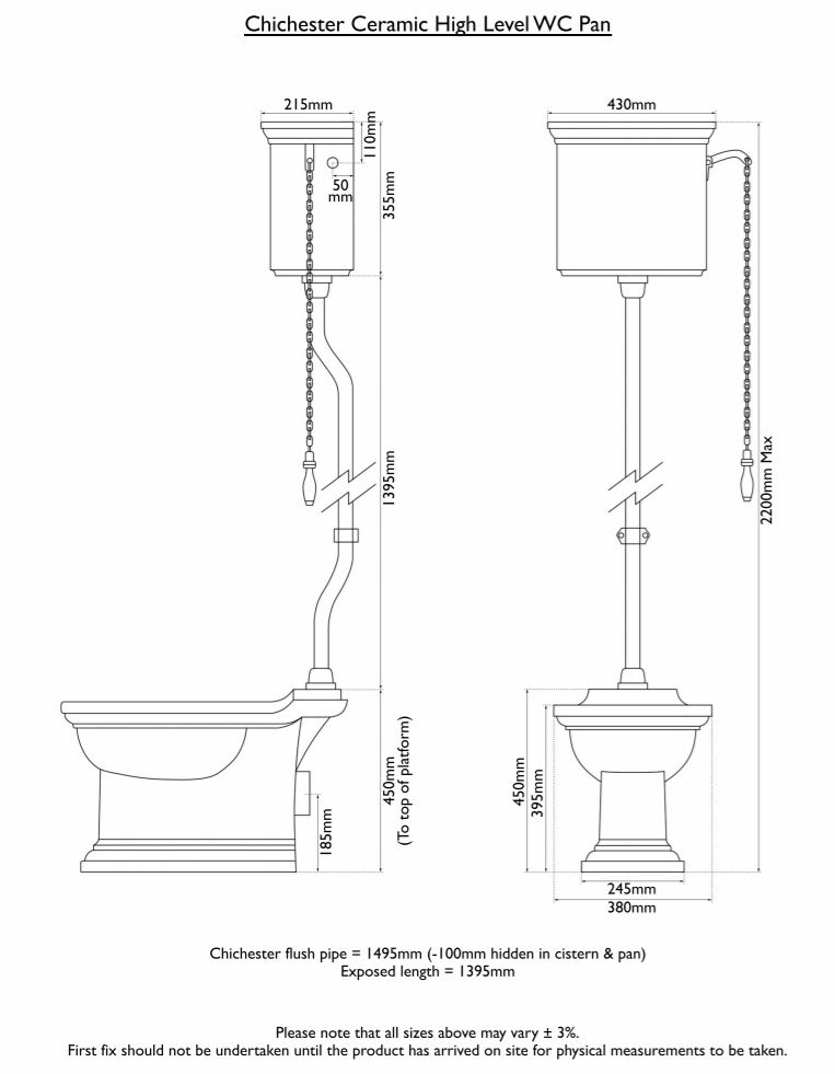 Dimensions Of Hurlingham Chichester High Level Traditional Toilet