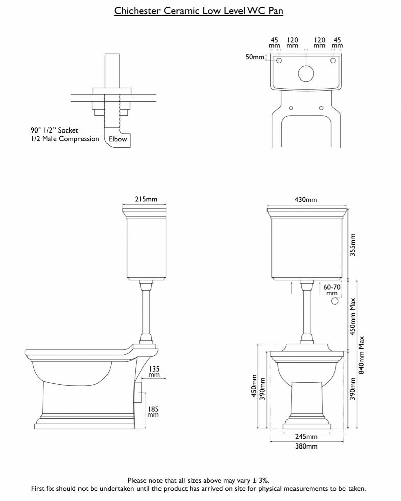 Dimensions Of Hurlingham Chichester Low Level Traditional Toilet