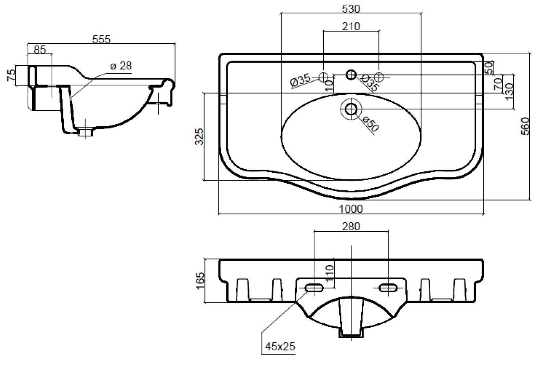 Dimensions Sbordoni Palladio 1000mm Wide Basin