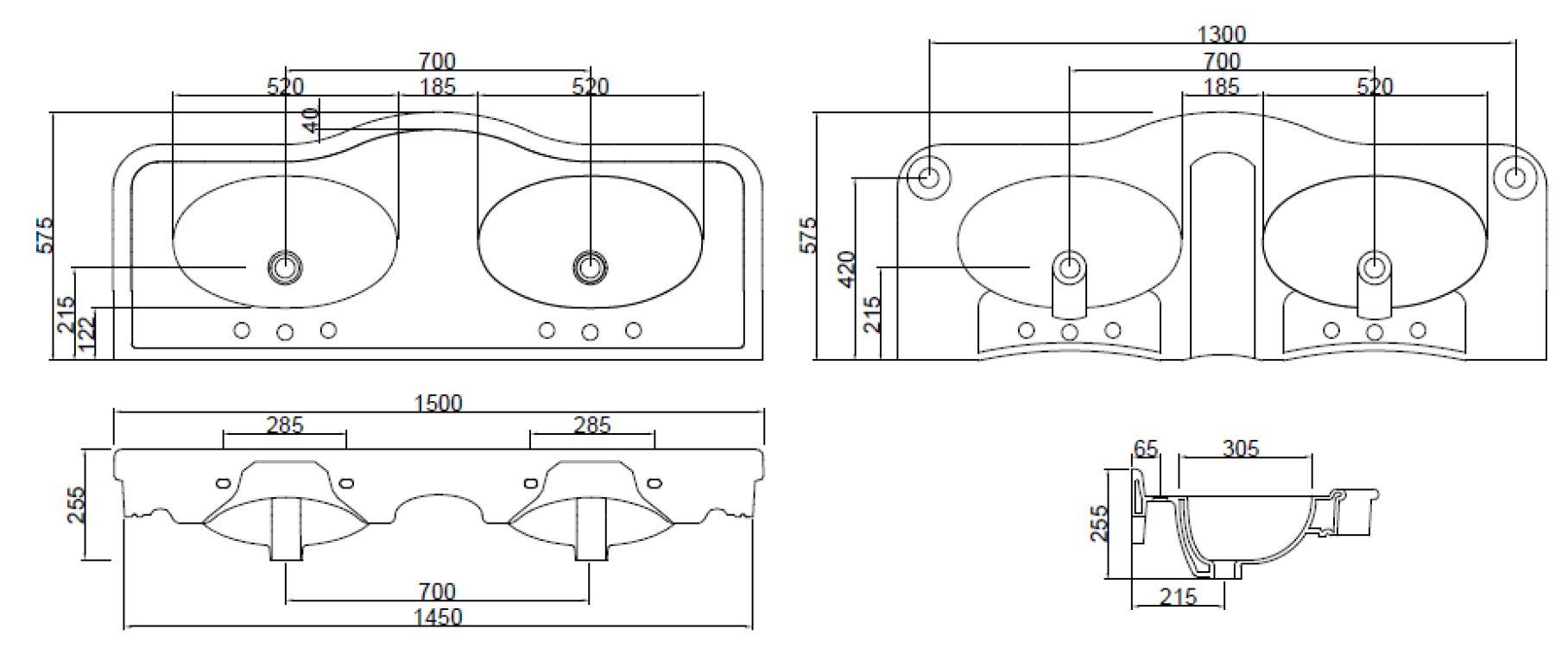 Dimensions Sbordoni Palladio 1500mm Wide Basin