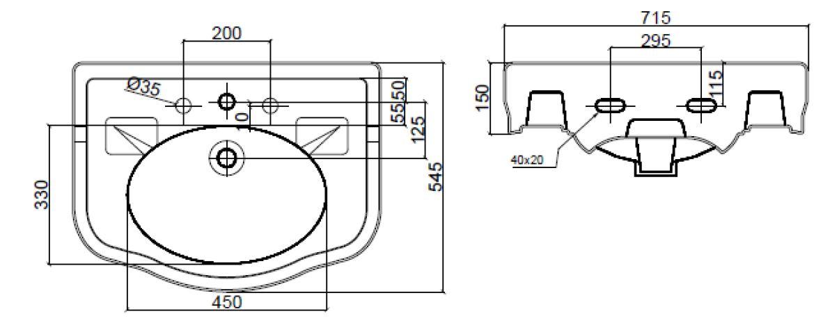 Dimensions Sbordoni Palladio 715mm Wide Basin