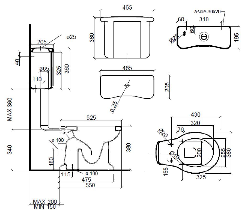 Dimensions Sbordoni Palladio Low Level Toilet Set
