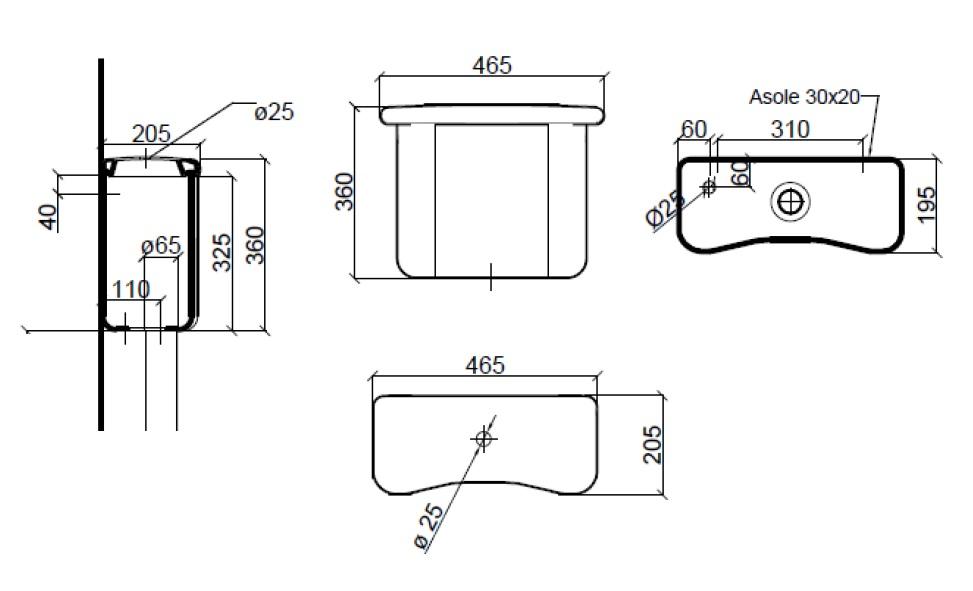 Dimensions Sbordoni Palladio Low Level Cistern