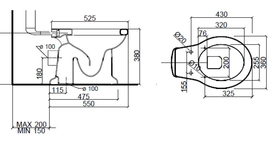Dimensions Sbordoni Palladio Toilet Pan