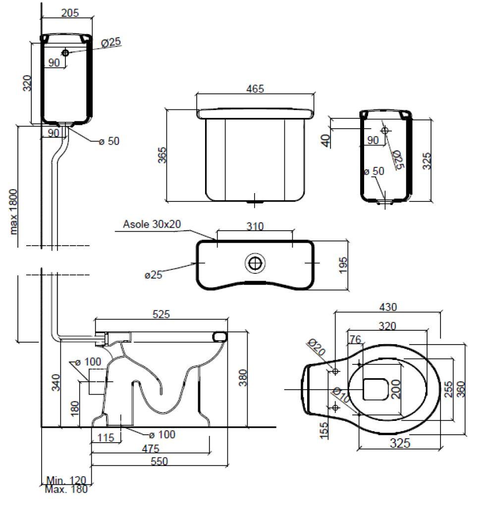 Dimensions Sbordoni Palladio High level Toilet Set