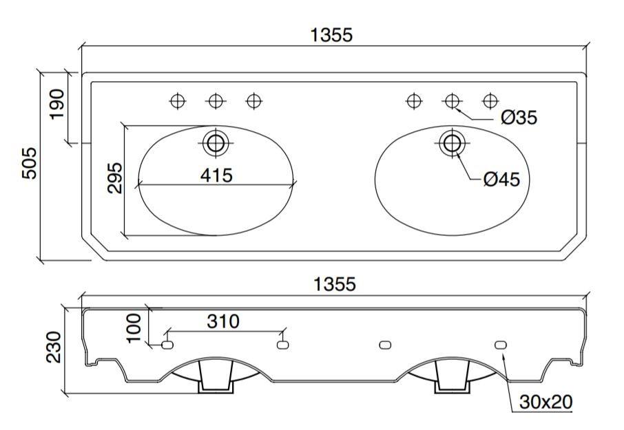 Dimensions Sbordoni Double Console Basin