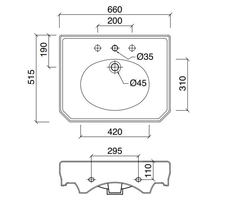 Dimensions Sbordoni Romana 650mm Console Basin