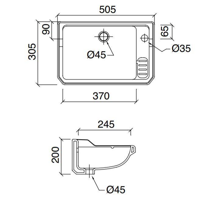 Dimensions Sbordoni Romana500mm Console Basin