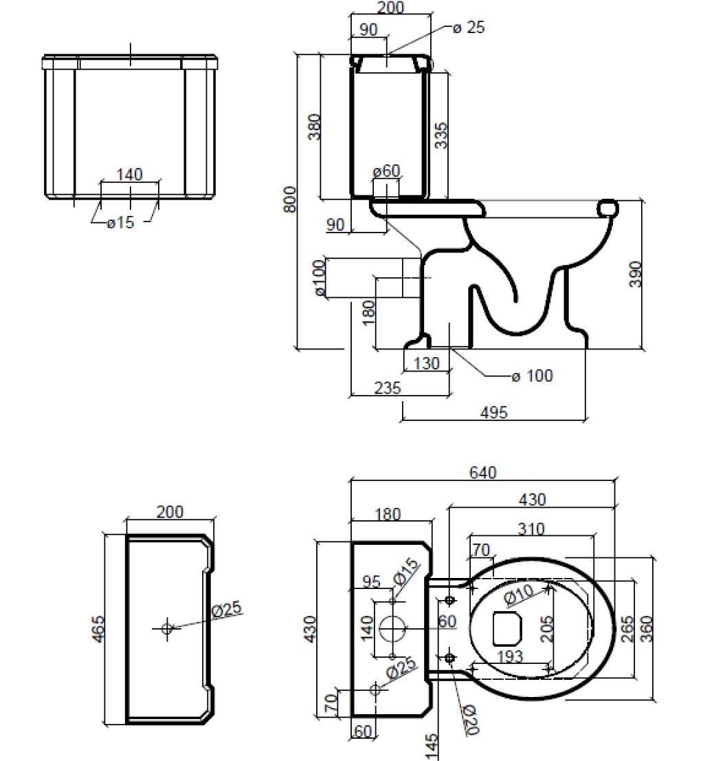 Dimensions Sbordoni Neoclassica Close Coupled Toilet Set