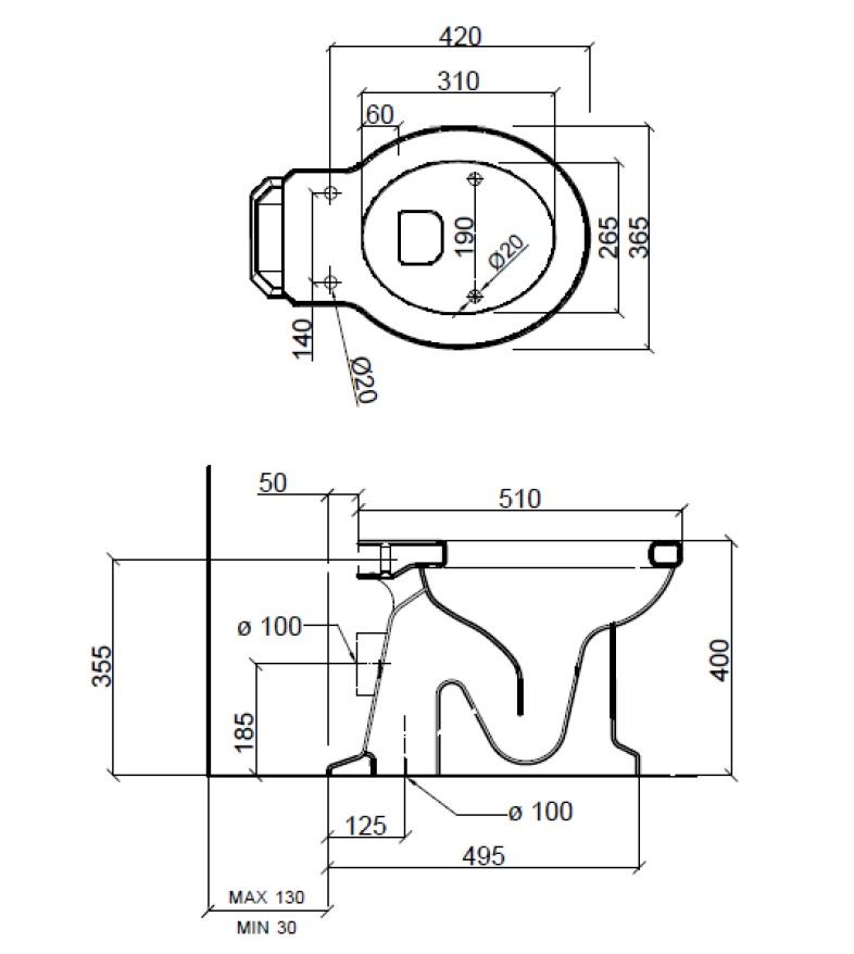 Dimensions Sbordoni Neoclassica Toilet Pan